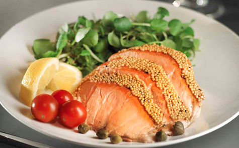 160g Kiln Roasted Smoked Salmon with Honey & Mustard Seeds