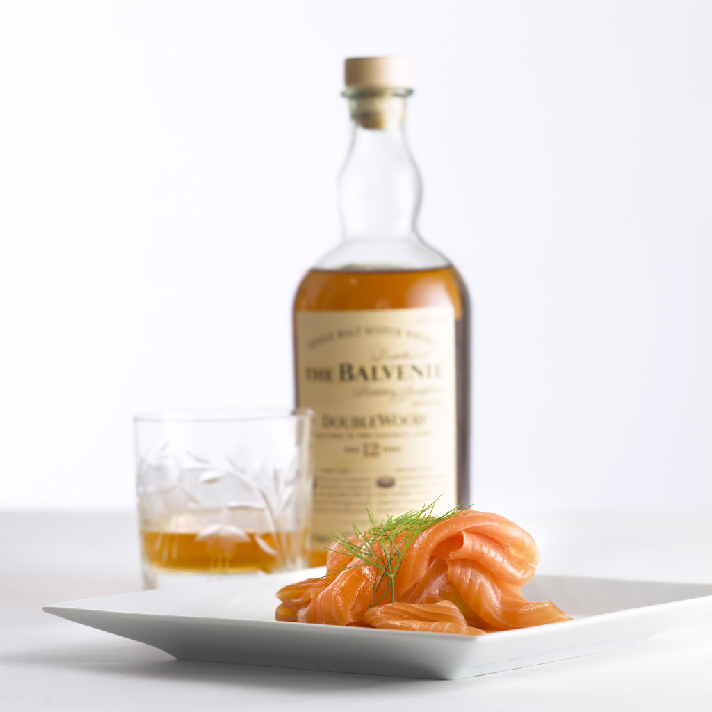 John Ross Jr's Balvenie Whisky smoked Salmon on a plate